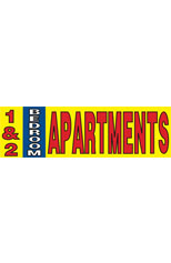 1 & 2 Bedroom Apartments Vinyl Ad Banner 3 x 10 ft