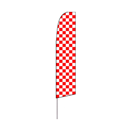 Checkered (Red/White) Feather Flag