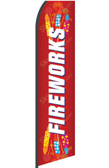 FIREWORKS (Red, Custom) Feather Flag