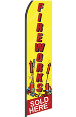 FIREWORKS Sold Here (Yellow, Custom) Feather Flag