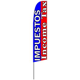 Impuestos Income Tax Feather Flag