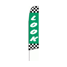Look (Green and Checkered) Feather Flag