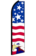 PATRIOTIC WITH EAGLE (Horizontal) Feather Flag