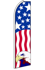 PATRIOTIC WITH EAGLE (Vertical) Feather Flag