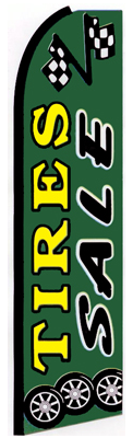 Tires Sale (Green) Feather Flag