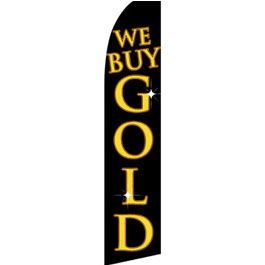 We Buy Gold (Black) Feather Flag